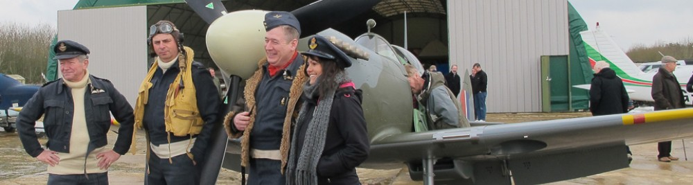 Spitfire pilots re enactors ACESquadron Enstone Flying Club